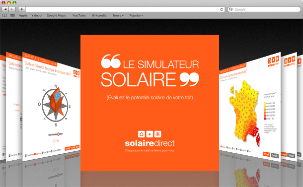 Interface graphique des bornes interactives de Solaire Direct