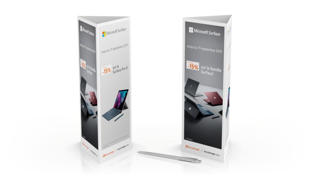Mini-totem Microsoft Surface pour Boulanger